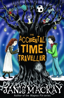 cover image has large black tree in middle with boy in green jacket and jeans on right side with girl in long white dress on left side. branches has items in it like soccer ball, candle, book, game console and phone. orange letters across middle of trunk read The Accidental Time Traveller.