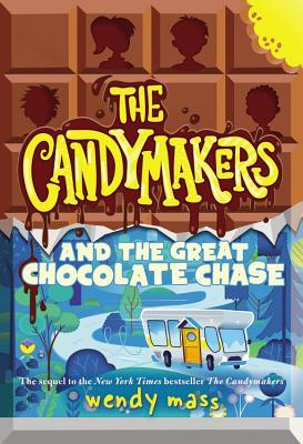 cover image in two parts. top part looks like chocolate slab with four silhouettes of kids inside blocks. yellow letters in middle The Candymakers with small bite at top right. bottom half in blue image of road cutting through mountains with campervan on road. white letters in middle read And the Great Chocolate Chase.