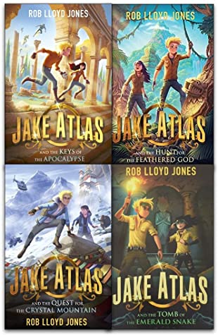four covers in one grid. top image of boy and girl running under ancient structures. top right boy and girl standing under creepers mountain behind them. bottom left boy and girl on snowy mountains with helicopter behind them. bottom right of boy and girl inside dark crypt like place with flame torch in hand. large letters across bottom read Jake Atlas with smaller letters below relating to subtitle.