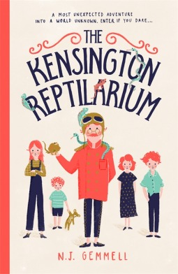 cover image has four kids standing behind man in middle in orange coat with creatures around him. light coloured background. blue letters at top read The Kensingtom Reptilarium.